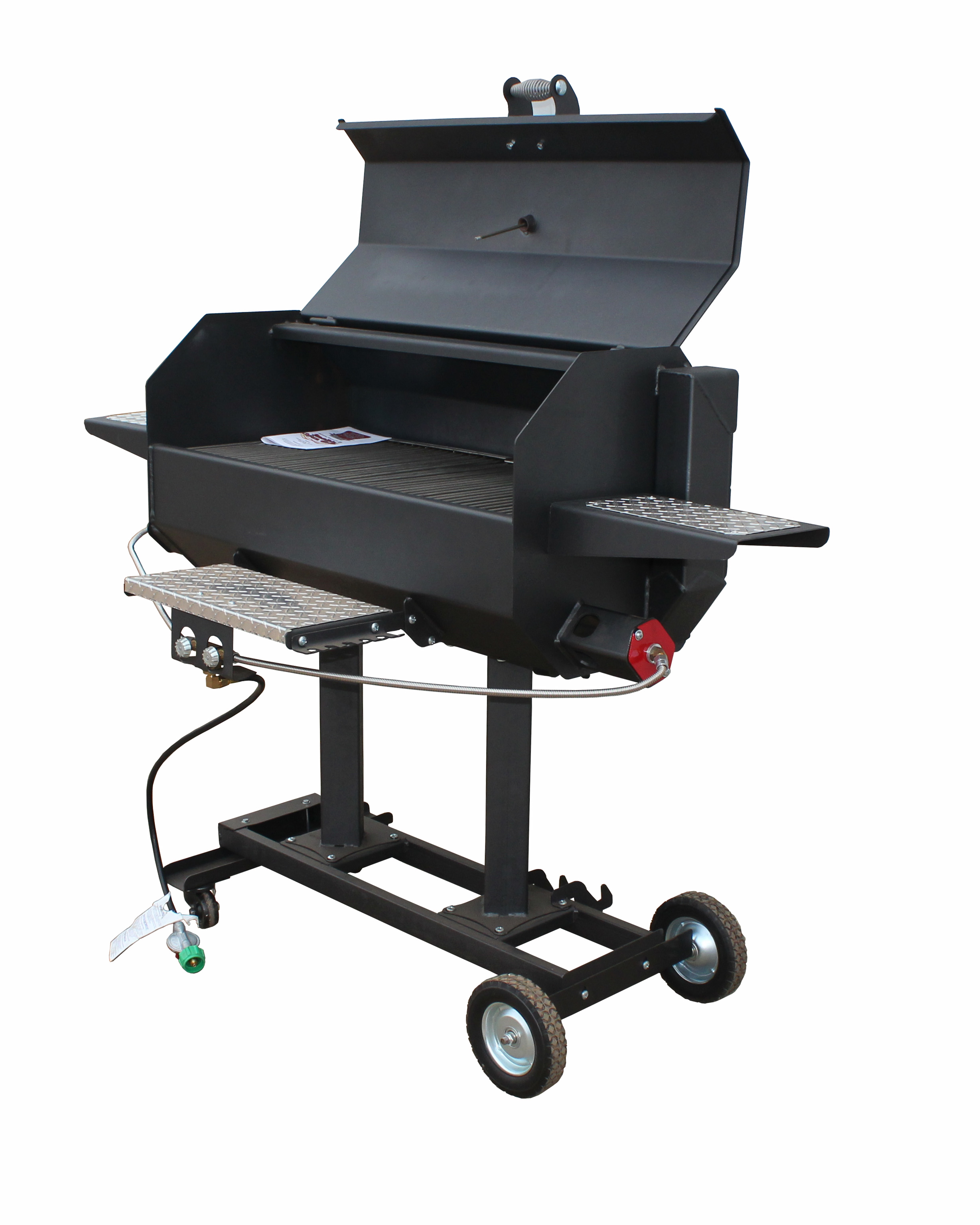 phoenix steel stainless riveted sd bbq pedestal grill cart natural guys head gas on